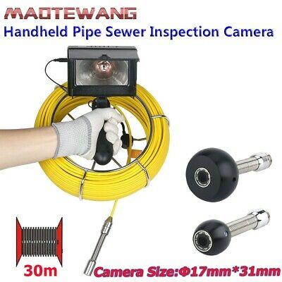 "30M 4.3"" 17mm Handheld Industrial Pipe Sewer Inspection Waterproof Video Camera"