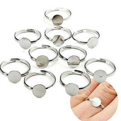10/100 8mm Silver Plated Adjustable Flat Ring Base Blank Jewelry Findings ZW