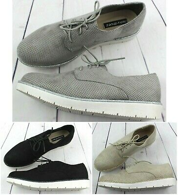 Womens Grey Black Beige Platform Flat Lace-Up Brogue Loafers Smart Casual Shoes