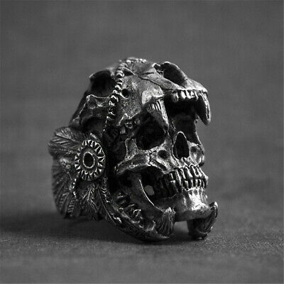 Cool Men's Stainless Steel Gothic Punk Skeletons Skull Head Biker Finger Ring