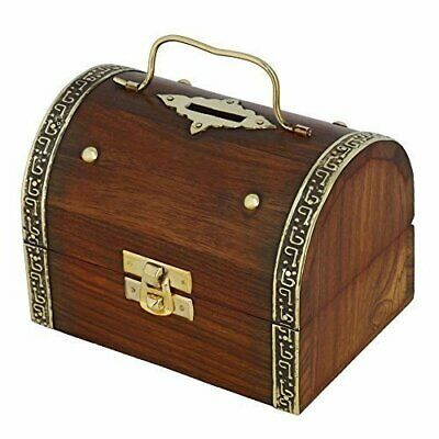 Antique Inspired Treasure Chest Wooden Box Safe Money Bank (5x3.5-inch)