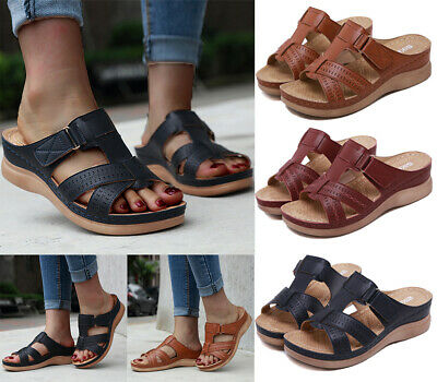 Women Ladies Low Wedge Comfort Slip On Sandals Summer Open Toe Mules Shoes 3-6.5