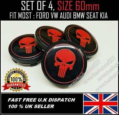 ⭐X 4 PUNISHER RED ALLOY WHEELS CENTRE CAPS 60mm FORD, SEAT, VAUXHALL, BMW,HONDA⭐