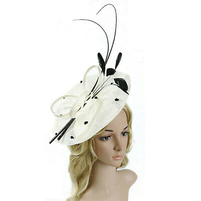 Women Fascinator Feather Bowknot Top Hat Cocktail Party Ladies Day Millinery