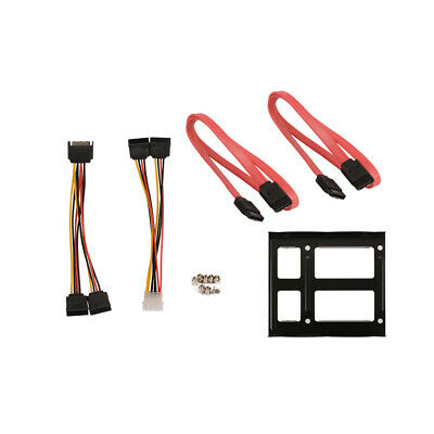 """2.5"""" Dual SSD HDD to 3.5"""" Mount Bracket Frame SATA Cable Power Splitter Cord Set"""