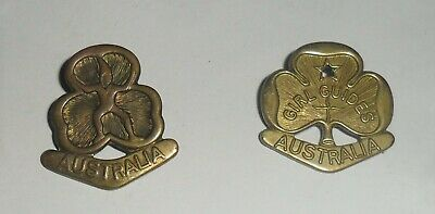 2 old Australian Girl Guides badges - pressed Brass, both dif't, vgc