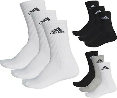 Adidas Socks 3 Pairs Men's Women's Unisex Crew Cotton Sport Football Gym Running