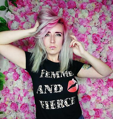 Sweet Charlotte Tee 'Femme and Fierce' Pin Up Tshirt Slogan Vamp