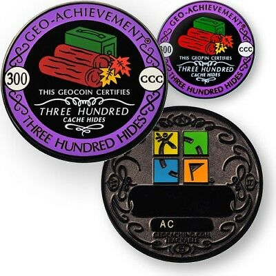 300 Hides Geo-Achievement set Geocaching Geocoin 25 ausgelegt mit Pin