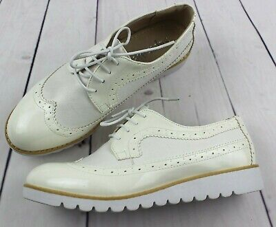Womens Ladies White Lace Up Low Platform  Flat Brogues Loafers Creepers Sizes