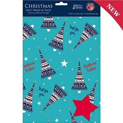 Christmas Gift Wrap Pack 5 Sheets + 5 Tags Christmas Trees Wrapping Paper