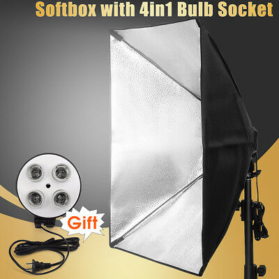 Photography Photo Studio Kit Lighting Softbox 50*70 + 4in1 E27 Socket Lamp Stand
