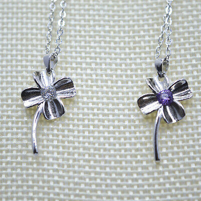 "Shiny 925 Sterling Silver Plt 4 Leaf Clover CZ Pendant Necklace 18"" Luck Gift UK"