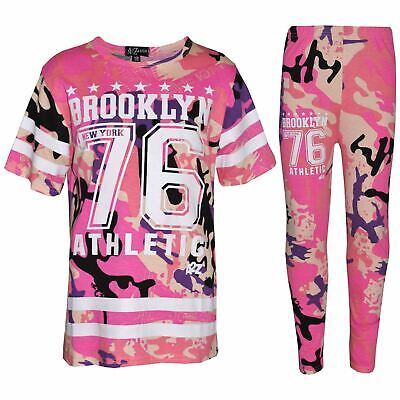 Kids Girls Adios Crop Top Legging Set Camouflage Baby Pink Joggingsuit Tracksuit
