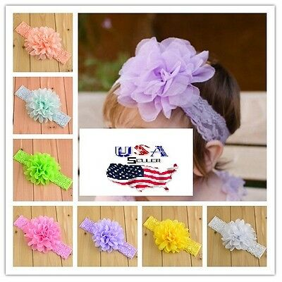 Baby Toddler Girls Big Chiffon Flower Lace Headbands Turban 4 Inch Flower