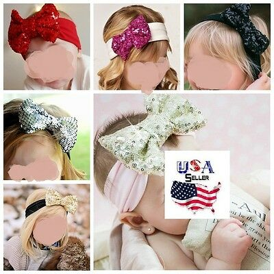Big Sequin Bow Cotton Turban Headbands Baby Toddler Girls Kids Sparkly Bow
