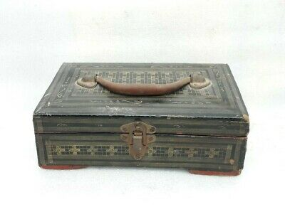 Antique Old Burmese Lacquer Painted Wooden Trinket Jewellery Box Case ARA