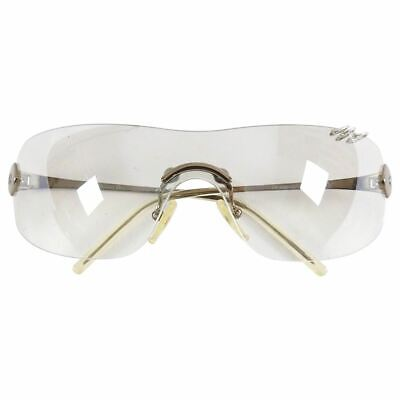 Christian Dior Early 2000's Clear Silver Piercing Shield Sunglasses