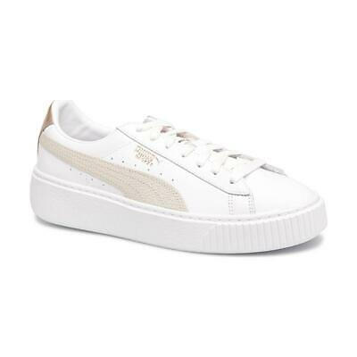 cheaper b5eb9 06140 WOMENS PUMA BASKET Platform Euphoria RG 366814 02 White Lace Up Leather  Trainers