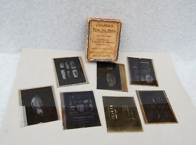 Magic Lantern Slide Lot 7 Archaeology Artifact Arrowhead Pottery Tardenoisian