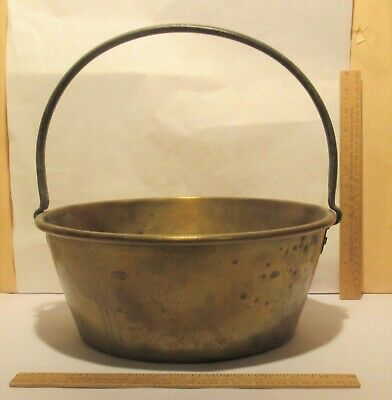 BRASS BUCKET / PAIL / PAN - Fixed HANDLE - used / dented / fire charred