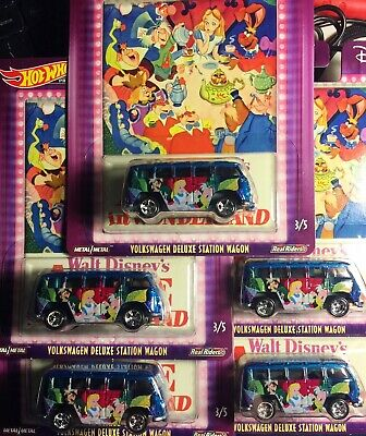 Hot Wheels 2019 Disney Alice in Wonderland VW Deluxe Station Wagon Lot Of 5 Cars