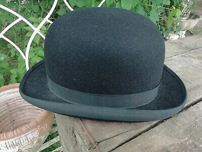 Vintage Black Bowler Hat  G.A.Dunn & Co, Piccadilly, London Gold Silk Lined