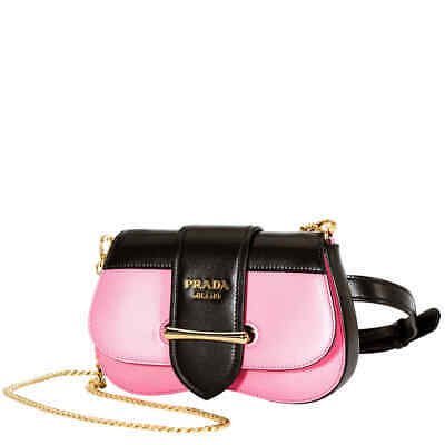 eb466b9333 PRADA SIDONIE LEATHER Belt-Bag- Black/Pink 1BL021 OJH 2AIX EF0XDF