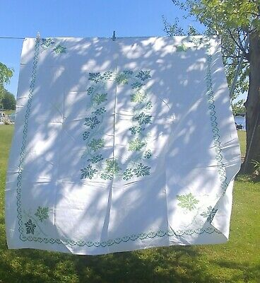 """Vintage Hand Cross Stitched Tablecloth 52"""" x 58"""" Green Ivy Floral"""