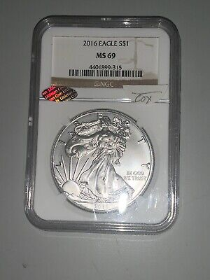 2016 $1 American One Ounce Silver Eagle Ngc Ms69 Brown Label