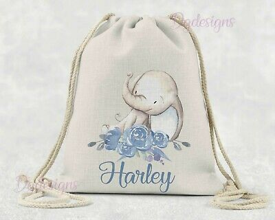 Personalised  Bag* PE*Gym*Dance * baby nappy *gift drawstring bag * Blue Nelly