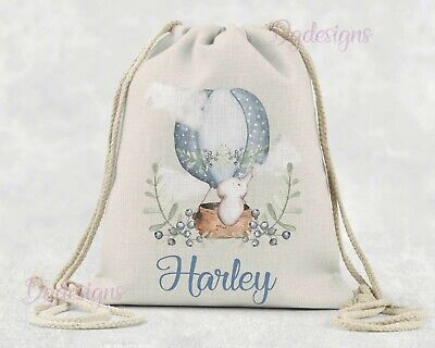 Personalised Bag*PE*Gym*Dance*baby nappy*gift drawstring bag *Blue Balloon Nelly
