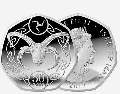 Isle Of Man 1 Coin 50 Pence 2017 New UNC from Bags Manx Sheep Loaghtan Treskalio
