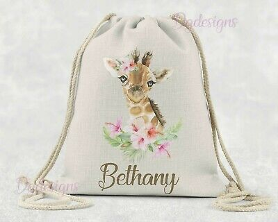 Personalised Bag*PE*Gym*Dance*baby nappy*gift drawstring bag*watercolour Giraffe