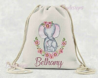 Personalised*PE*Gym*Dance*baby nappy gift drawstring bag*watercolour Elephant