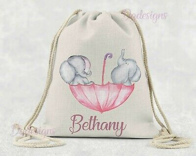 Personalised*PE*Gym*Dance*baby nappy gift drawstring bag*Baby Elephants