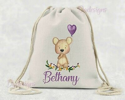 Personalised  Bag* PE*Gym*Dance * baby nappy *gift drawstring bag * Teddy