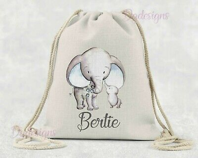Personalised *PE*Gym*Dance*baby nappy*gift drawstring bag *Mum & Baby Elephant