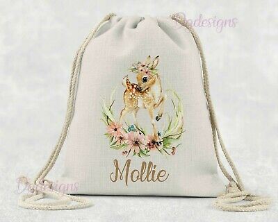 Personalised*PE*Gym*Dance*baby nappy*gift drawstring bag *woodland fawn