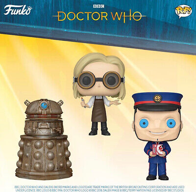 Funko Pop! Doctor Who 13th Doctor with Goggles Reconnaissance Dalek Kerblam Man