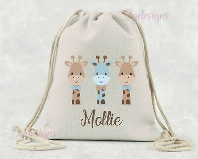 Personalised*PE*Gym*Dance*baby nappy*gift drawstring bag *giraffes