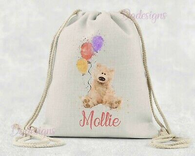 Personalised*PE*Gym*Dance*baby nappy*gift drawstring bag *vintage bear