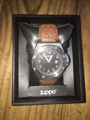 27c19fa7a Zippo Black Face Casual Watch Brown Leather Band 45010 **NEW**
