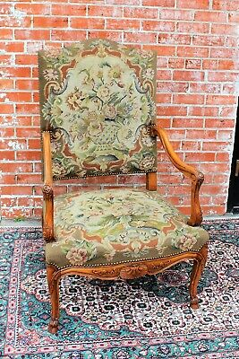 French Antique Louis XV Upholstered Armchair Needlepoint c. 1880s