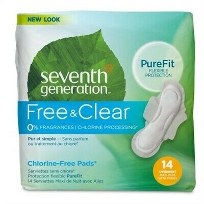 Seventh Generation Maxi Pads - Overnight With Wings - 14 Ct