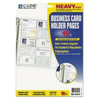 Business Card Binder Pages Holds 20 Cards 8 1/8 x 11 1/4 Clear 10/Pack X2