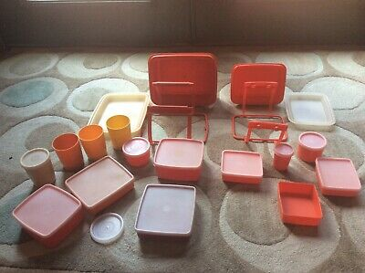 Tupperware Pack n Carry Lunch box parts lot large & small 30 pieces