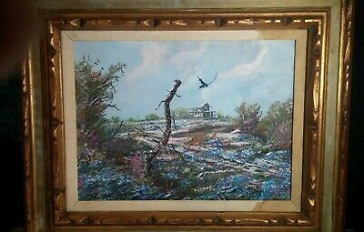 """Original Oil """"Texas Bluebonnets"""" by American Listed Artist Cecil R. Young Jr."""
