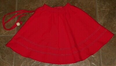 Vintage 1980's Red SKIRT Size 6 Slim Skinny Elastic Waist Wood Ball Tie