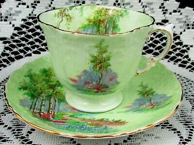 Aynsley Meadow Scene Light Green Embossed Tea Cup And Saucer